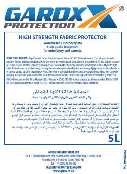 GardX High Strength Fabric Protector - Material Safety Data Sheet