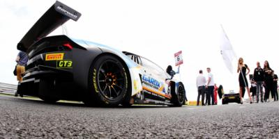 British GT Lamboghini Huracán on the grid getting ready for the race to begin