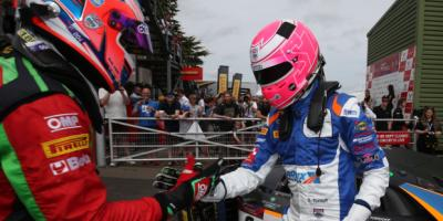 British GT- Racing Driver Sam Tordoff shaking hands with another racing Driver